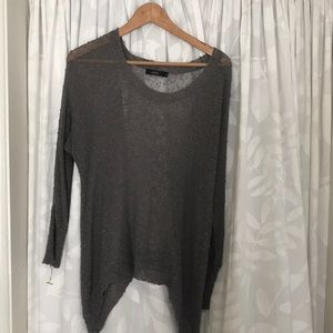 Gray cotton and polyester knit Top